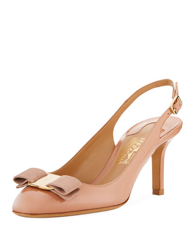 Ortigia Slingback Pump with Signature Vara Bow, New Blush Patent