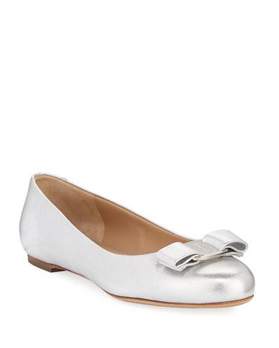 Metallic Vara Bow Ballerina Flat, Argento