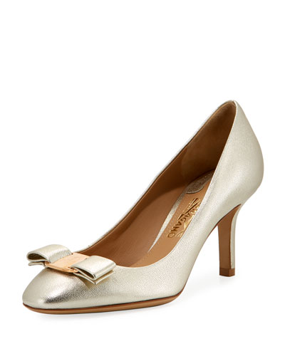 Erice701 Metallic Napa Vara Bow 70mm Pump, Sahara Gold