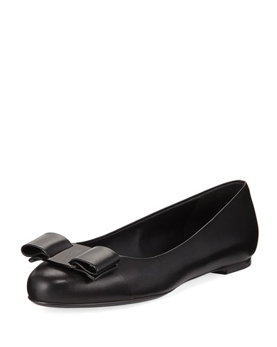 Varina Smooth Leather Ballet Flat with Vara Bow, Nero
