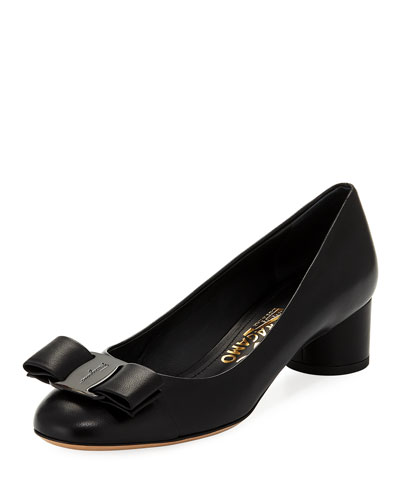Ivrea CT Napa Leather Vara Bow Pump, Nero