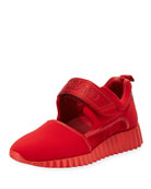 Grip-Strap Platform Sneaker, Lipstick Red