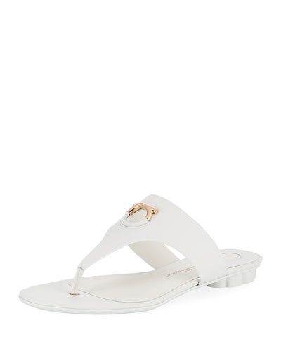 Flat Calfskin Thong Sandal, New Bianca Ottico