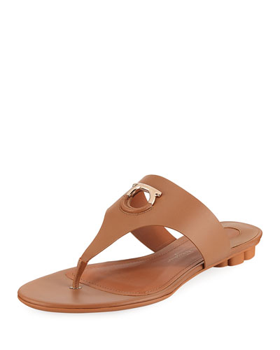 Enfola Flat Calfskin Thong Sandals, Sella Camel in Brown