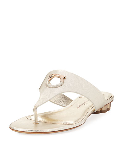 Flat Metallic Leather Thong Sandal, Sahara