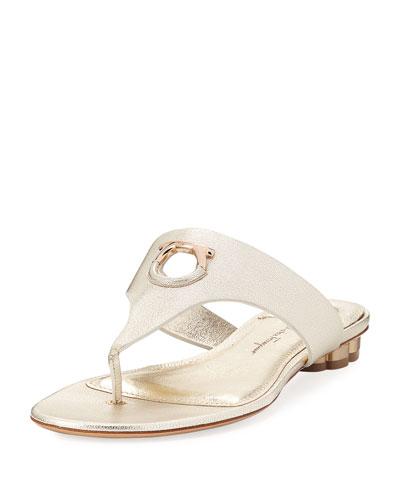 Flat Metallic Leather Thong Sandal, Sahara