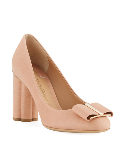 Capua 85 Pebbled Leather Flower-Heel 85mm Pump