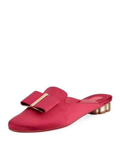 Sciacca T Smooth Satin Vara Bow Mule with Flower Heel