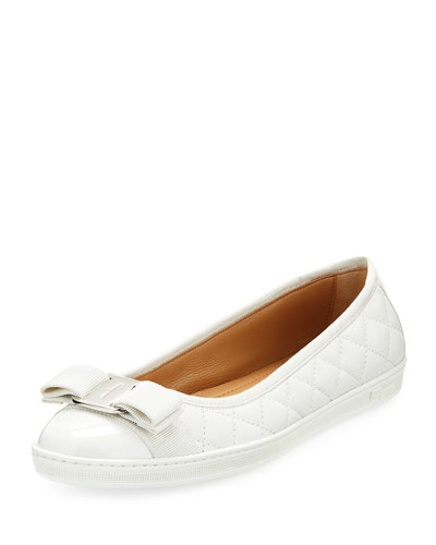 Women'S Rufina Quilted Cap Toe Leather Sneaker Flats in New Bianco