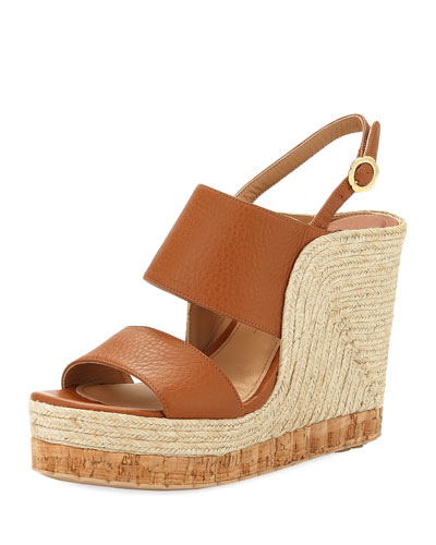 Leather Wedge Espadrille Sandal, Sella