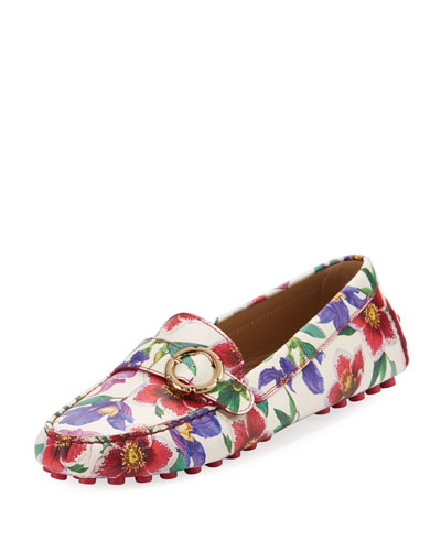 Floral-Print Leather Driver, White/Multi