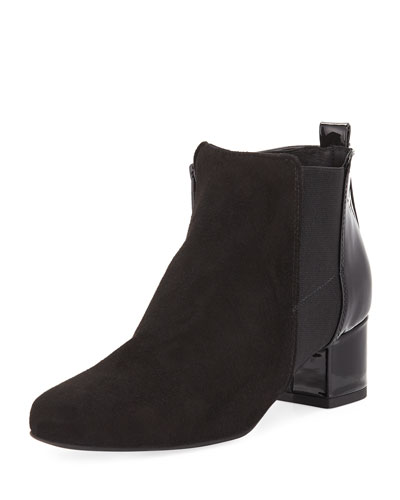 Olena Mixed Gored Bootie, Black