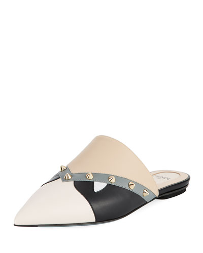 Bugs Faces Leather Flat Mule, Black