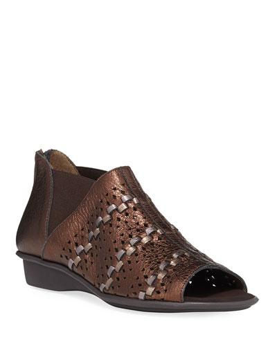 Emilia Woven Comfort Metallic Leather Slip-On Sandals