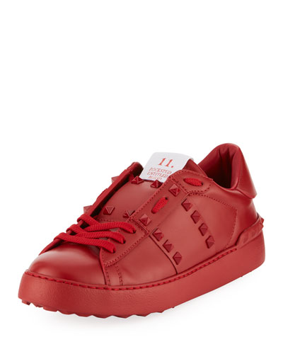 Rockstud Leather Platform Sneaker