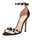 Rockstud Glam Satin City Sandal, Black