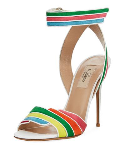 Rainbow Ankle-Wrap High Sandals, Multi