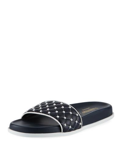 Rockstud Quilted Pool Slide Sandal, Marine-Bianco