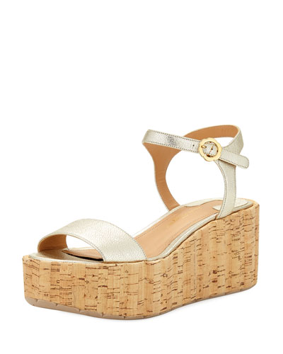 Metallic Platform Cork Wedge Sandal, Sahara