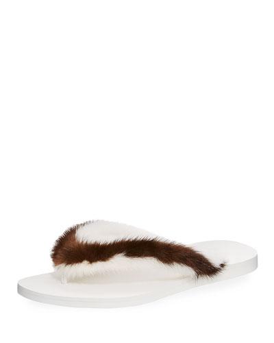 Two-Tone Flat Fur Thong Sandal