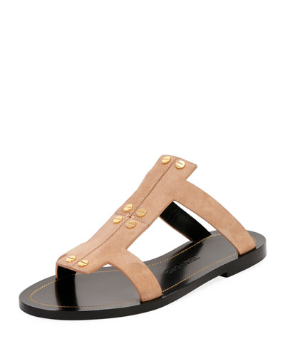Studded Suede Flat Caged Sandal