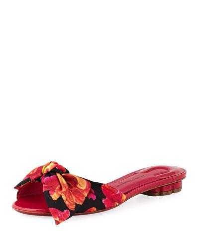 Chianni Floral-Print Silk Slide Sandal