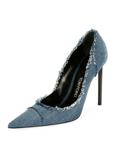 Fringed Denim 105mm Pump