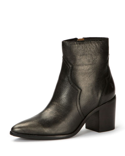 Flynn Metallic Leather Bootie, Pewter