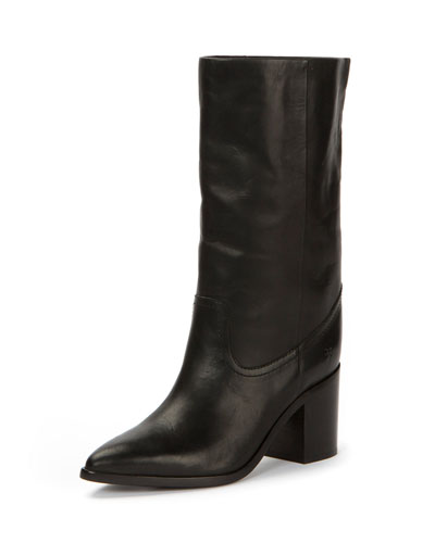 Flynn Leather Mid-Calf Pull-On Boot