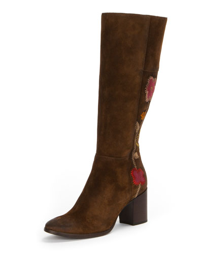 Nova Flower Tall Suede Boot, Brown
