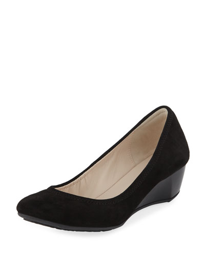 Sadie Grand Suede Wedge Pump, Black