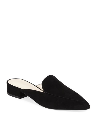 Piper Grand Suede Flat Loafer Mule, Black