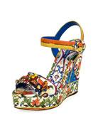 Tile-Print Embellished Platform Sandal