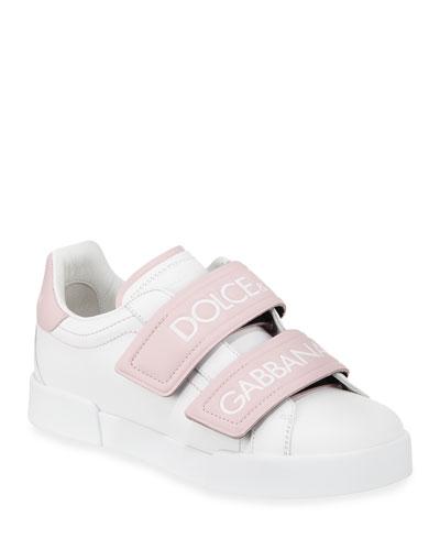Double-Strap Logo Sneaker, White