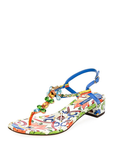 Maiolica Tile-Print Jeweled Thong Sandal, Multi