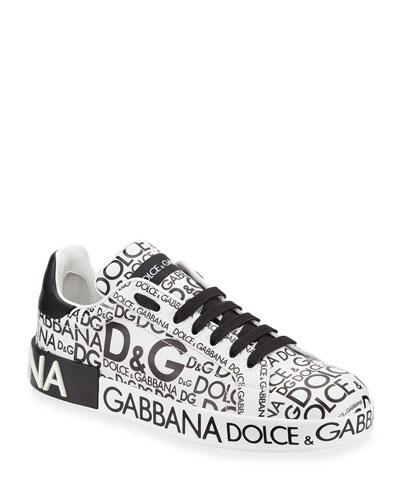 Logo-Print Platform Sneaker, White/Black