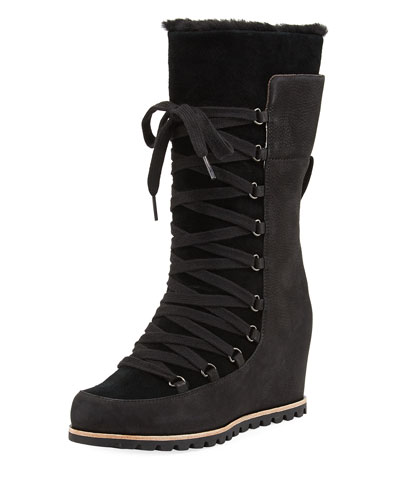 Mason Lace-Up Wedge Mid-Calf Boot