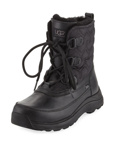 Lachlan Quilted Lace-Up Duck Boot, Black