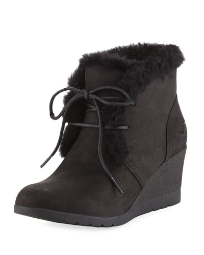 Jeovana Lace-Up Wedge Bootie, Black