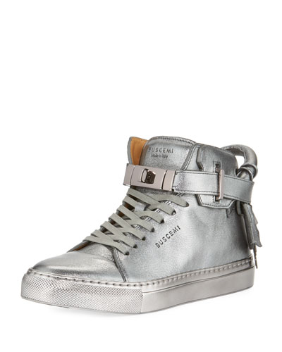 100mm Metallic Lace-Up High-Top Sneaker