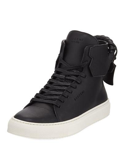 125mm Woven Calf High-Top Sneaker