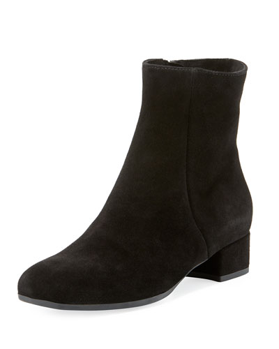 Jillian Suede Low Chunky-Heel Booties