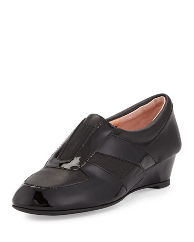 Pooms Traveler Patent-Trim Wedge Sneaker, Black