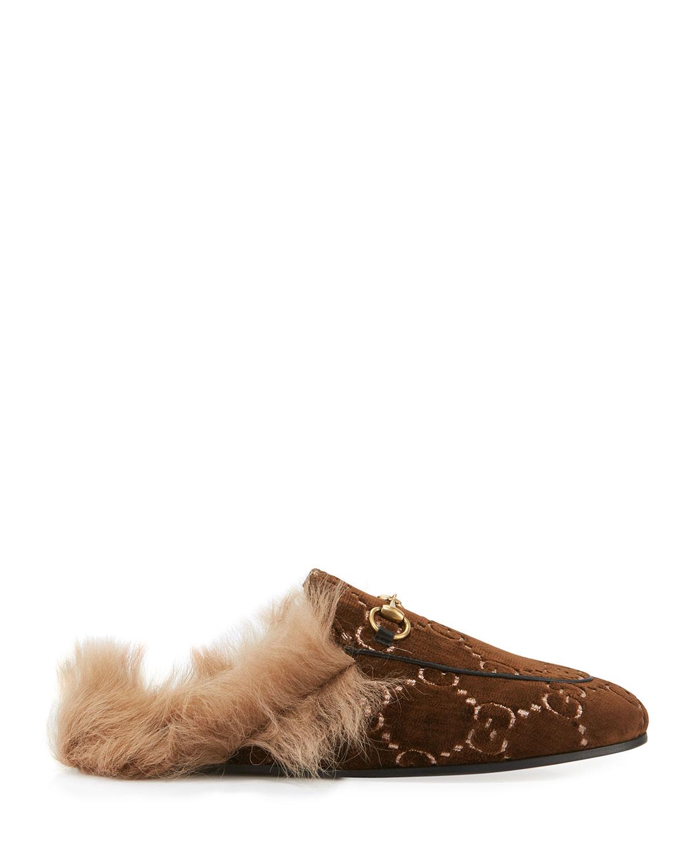 Flat Princetown Velvet GG Mule With Fur
