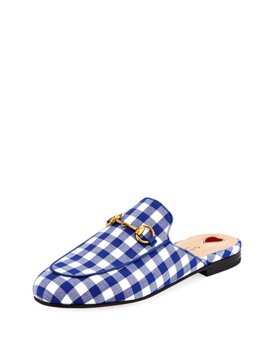 Women'S Princetown Gingham Mules, White/ Electric Blue