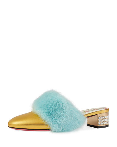 Candy Metallic Leather Fur-Trim Mule