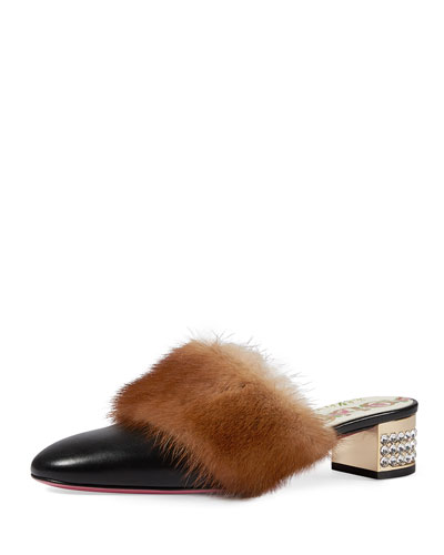 Candy Leather Fur-Trim Mule