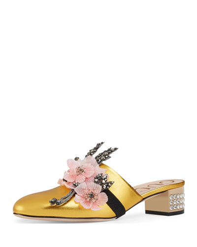 Candy Metallic Floral-Band Mule