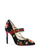 Gucci 105mm Sylvie Pump With Web Strap