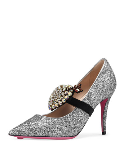 Virginia Glitter Heart 95mm Pump